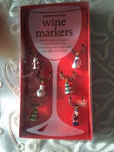 Boston Warehouse Christmas 6 Wine Glass Markers News in a Box  - $11.88