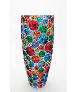 Bubbly bohemia crystal vase hand painted Murano style Venice - $280.00