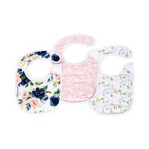 Tiny Twinkle Feeder Bib 3 Pack - Blush Rose Bunny Girl Set - Absorbent and Water