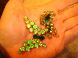 Vintage Verified Juliana/D&E Dark Green/Light Green Butterfly & Earrings - $45.53