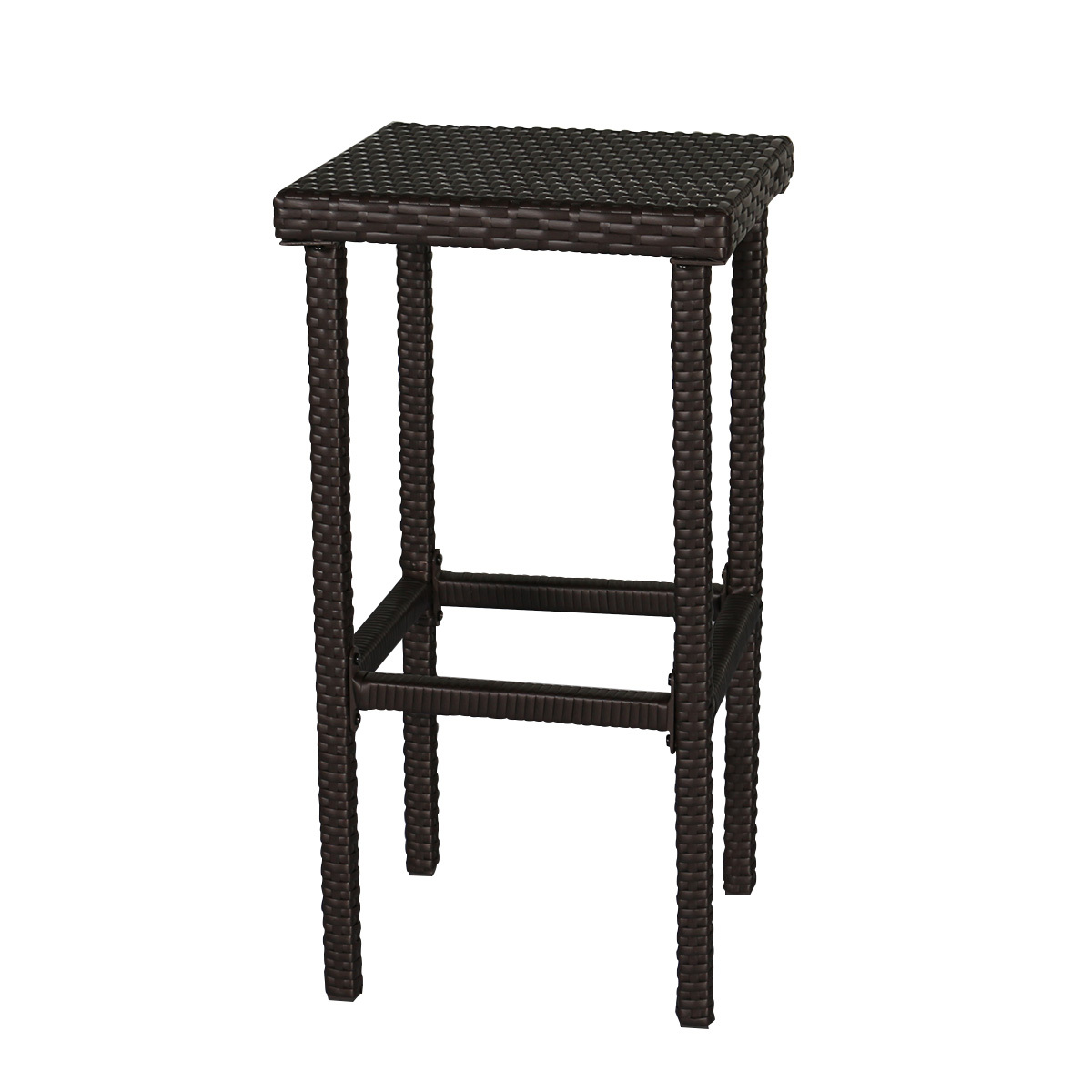 3 PC Wicker Patio Outdoor Bar Rattan Table & 2 Stools Barstool Furniture Set Red