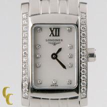 Longines donna acciaio inox Dolce Vita orologio al quarzo quadrante con diamanti - $1,350.04