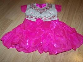 Child Size 22 / 4 Ethnic Dark Pink Off White Dress with Tiered Skirt  Em... - $17.00