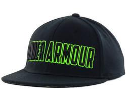 Under Armour 3D Logo Stretch Fit Flat Bill Black & Green Cap Hat  M/L & ... - $25.95