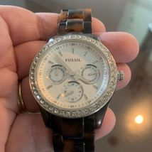FOSSIL Ladies Brown Tortoise Shell Multifunction Watch NEW BATTERY image 6