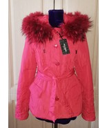 New red hooded jacket with raccoon fur - $100.00