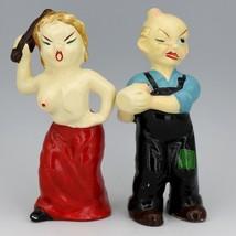 Vintage Novelty Salt & Pepper Shaker Set Mid 50's Risque & Politically Incorrect image 2
