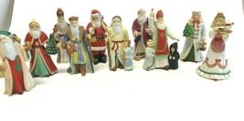 """Lot of 10 LENOX International Christmas Santa Figurines 1994 3 1/2"""" tall Vintage - $178.19"""