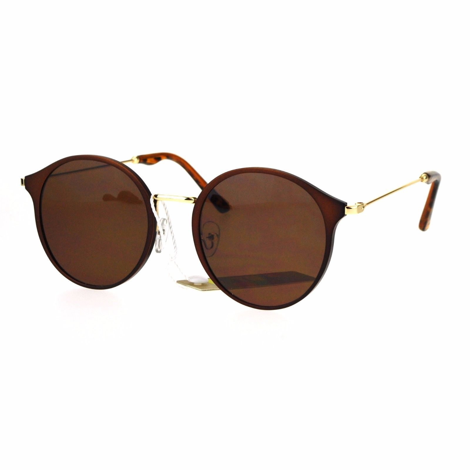 Womens Fashion Sunglasses Matted Metallic Finish Round Frame UV 400