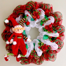 Adorable Extra Large Christmas Elf Fireplace Wreath Handmade Deco Mesh - $105.00