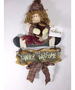 Hanging Christmas Winter Welcome Sign by Holiday Elegance Wooden - $16.82