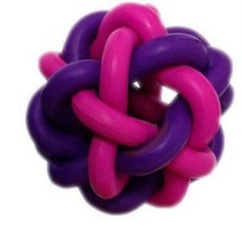 "NEW MULTIPET PINK PURPLE NOBBLY WOBBLY KNOT BALL 3"" RUBBER PUPPY DOG PLA... - £6.47 GBP"