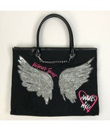 Women's Black Victoria's Secret Silver Angel Wings Tote Bag - $32.78
