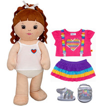 Build a Bear Brunette 17in. Plush Doll with Rainbow 2pc. Outfit Dot Sand... - $126.95