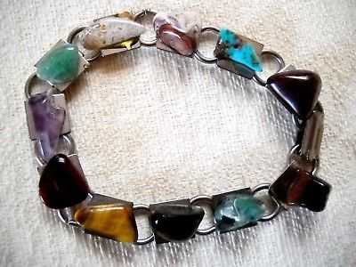 NWOT POLISHED AGATE CHIP CHAIN-LINK BRACELET ON SILVER TONE METAL LINK CHAIN