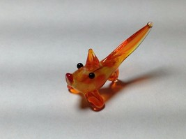 Miniature Glass orange ish gold  fish Handmade Blown Glass Made USA