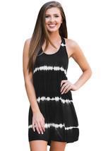 Black Tie Dye Print Racerback Swing Dress - $13.96
