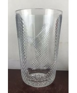 "Vintage large  heavy  Thick clear glass  cut design  vase 12"" Tall - $34.65"