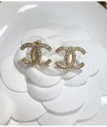 Authentic Chanel Classic CC Logo Crystal Strass GOLD Stud Earrings  - $439.99