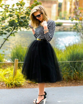 WOMEN BLACK Tea Length Midi Tulle Skirt Plus Size Black Tulle Skirt With Bow NWT
