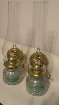 SET OF 2 BEAUTIFUL NEW OIL LAMPS, WITH LONG ELEGANT GLOBES. THEY CAN SET... - $24.00