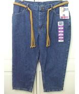 Riders by Lee Dark Blue Denim Capris Jeans w Beige Macrame Belt Women's ... - $24.70