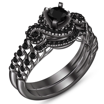 Pure 925 Silver Black Rhodium Finish Round Cut Diamond Wedding Bridal Ring Set - $114.99