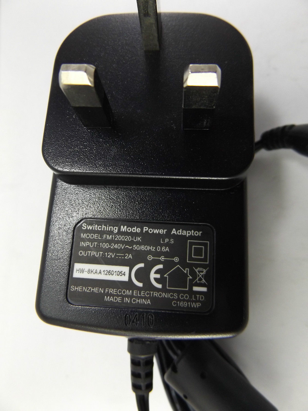 Switching Power Adaptor FM120020-UK Input 100-240V 50-60Hz 0.6A Output 12V 2A