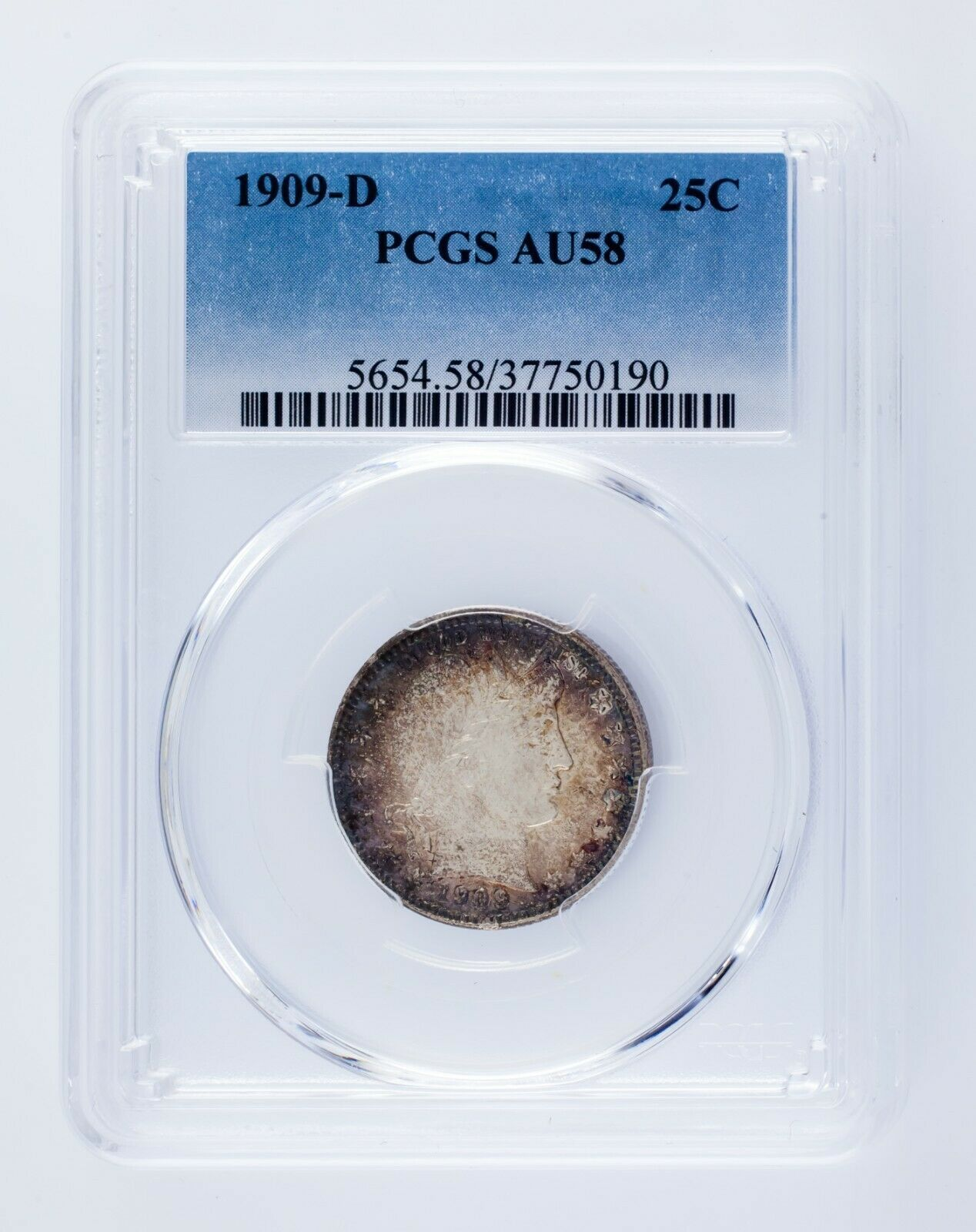 1909-D 25C Barber Quarter Graded by PCGS as AU-58! Gorgeous Silver Coin!