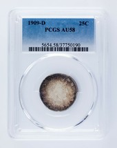 1909-D 25C Barber Quarter Graded by PCGS as AU-58! Gorgeous Silver Coin! - $247.50
