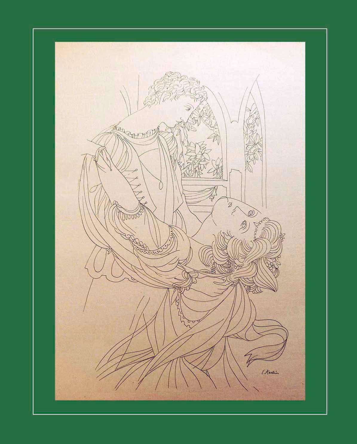 Shakespeare's Romeo & Juliet Modernist Line Drawing by Eugene Karin 1957 Large 1 - $24.99