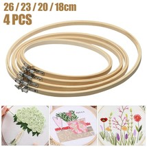 4pcs 18/20/23/26cm Sewing Tool Round Wooden Embroidery Hoops Frame Bamboo - $13.70