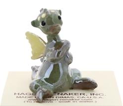 Hagen-Renaker Miniature Ceramic Dragon Figurine Baby Green with Yellow Wings image 2