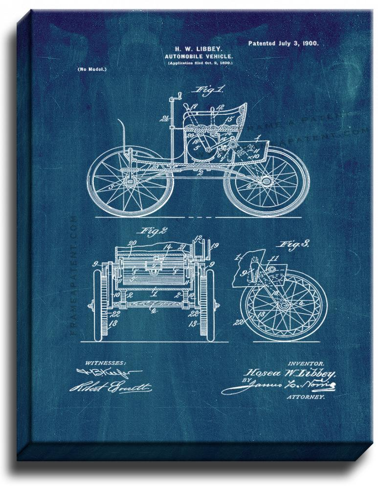 Primary image for Automobile Vehicle Patent Print Midnight Blue on Canvas