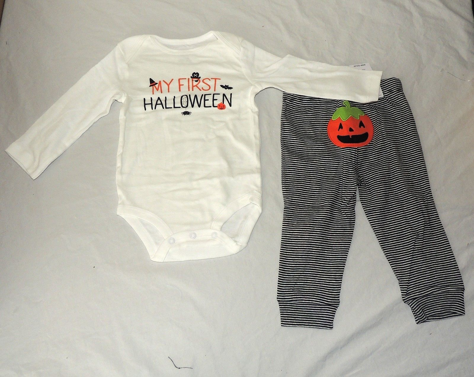 new baby carters first halloween outfit long sleeve size 12m unisex spider bat