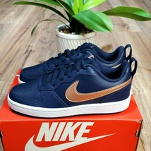Nike Court Borough 2 Low Womens Size 5.5 (4Y) Navy Leather Shoes - $79.19