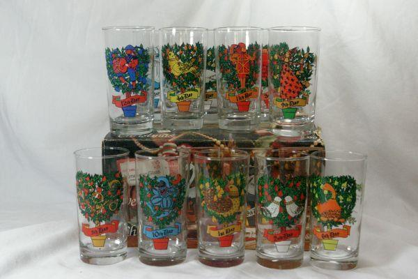 Indiana Glass 12 Days of Christmas Boxed Set Of 12 12 oz Tumblers #2350