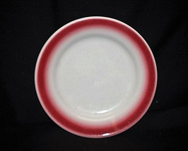Vintage Homer Laughlin Restaurant Ware Bread & Butter Plate White Maroon 1C USA - $12.86