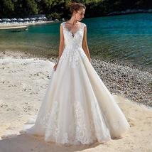 Lace Applique Sleeveless Illusion Vintage Beach Wedding image 1