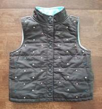 Gymboree Girls Reversible Outdoor Vest Size XS 3-4 Brown Aqua Blue Snap Front - $9.99