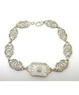 Filigree Art Deco 10K White Gold Genuine Natural Camphor Bracelet (#J3774) - $712.50