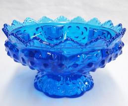 Fenton Colonial Blue Hobnail Candle Bowl 1969 P... - $49.49