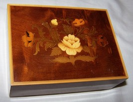 """Vintage Reuge Swiss Music Box-Italy-Marquetry Inlaid Wood-""""Try to Rememb... - $35.00"""
