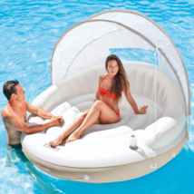Outdoor Daybed Canopy Pool Inflatable Chaise Lounge Island Sunbed Lounge... - $108.89