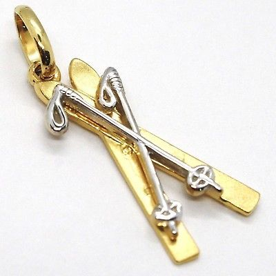 YELLOW GOLD PENDANT WHITE 750 18K, SKIING AND RACKETS, MADE IN ITALY