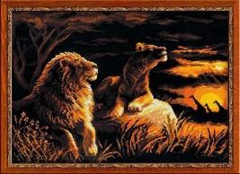 Cross Stitch Kit Riolis Lions in the Savannah Animals - $33.00