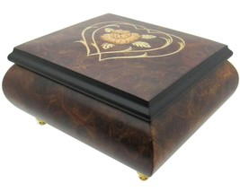 "Italian Music Box, 5"", Elm Wood with Heart Floral Inlay - $199.95"