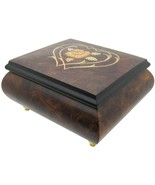 """Italian Music Box, 5"""", Elm Wood with Heart Floral Inlay - $199.95"""