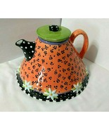 Vtg ME Ink 1998 VERY MARY TEAPOT Engelbreit Bell Bottom Daisy Dots Peach... - $93.55