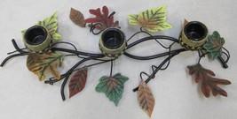 Candlestick Holder Maple Leaves Acorns Thanksgiving Fall Autumn Centerpiece - $14.84